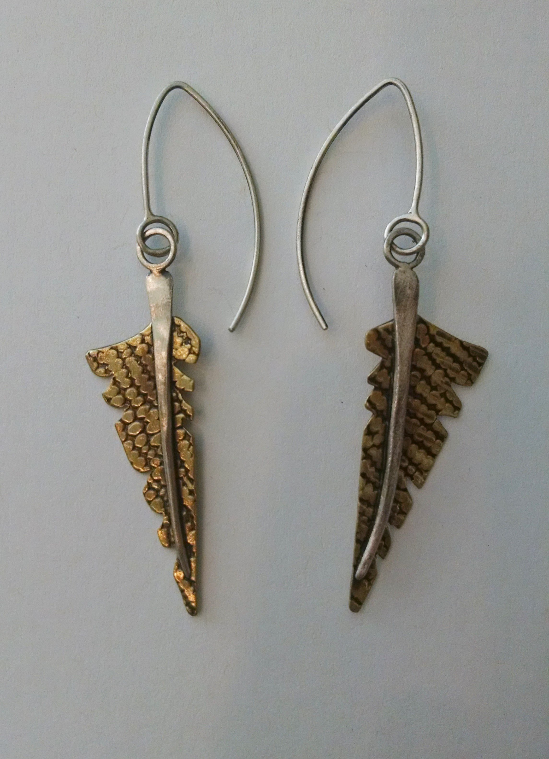 leather feather brass original cut earri chains feathered hand painted products aluminum img bronze earrings